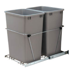 "Rev-A-Shelf - Rev-A-Shelf RV-18KD-17C S Double 35 Qt. Pullout Waste Container, Silver - One of the most popular Pullout Waste Containers on the market today! This unit includes (2) 35 quart silver colored polymer waste containers, 100lb rated full-extension ball-bearing slides, a removable handle, and hardware and instructions. The Rev-A-Shelf RV-18KD-17C S features an easy bottom mount installation process that can be completed with just 4 screws. It is also built to last with its heavy duty wire frame construction, and is regarded as the best in the industry. If you've been thinking about getting rid of that old, unsightly stand alone garbage can, and upgrading to a pullout waste unit for your garbage and recycling needs, do yourself a favor and check this one out. You won't regret it! Physical specifications: 14-3/8"" W x 22"" D x 19-1/4"" H. Please make sure your cabinet has a minimum opening of at least 14-1/2"" W x 22-1/8"" D x 19-3/8"" H to ensure a proper fit."