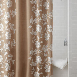 """Horchow - Floral Burlap Shower Curtain - Add natural beauty to your bath with this burlap shower curtain adorned with flowering vines in ivory crewelwork. Woven jute base. Cotton yarn embroidery. Dry clean. 72""""Sq. Imported."""
