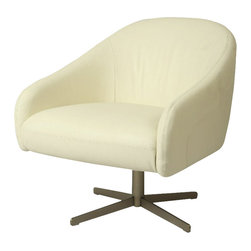Pastel Furniture - Pastel Dawsonville Club Chair - Brushed Steel - Top Grain White Leather - The Dawsonville club chair with a swivel feature is designed with traditional comfort with an added modern influence. This chair is upholstered in top grain white leather with a brushed steel sturdy base. This unique design will add a modern flair to any room.