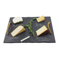 True Fabrications - Vintage Vine Slate Cheese Board - Is is a chalkboard or a cheese platter? It's both; allowing you to label the dairy delicacies you're serving with appetizers at the next dinner party.   Slate / jute Imported