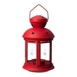 Rotera Lantern for Tea Light, Red - Ambience is key for outdoor entertaining. These red lanterns with star cutouts are perfect for a summer soiree.