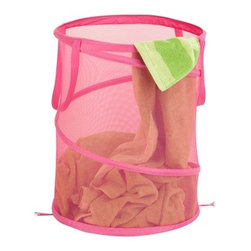 Large Mesh Pop Open Hamper, Pink - Honey-Can-Do HMP-03059 Breathable Large Mesh Pop-up Hamper, Pink.  Want a hamper with a big pop? Now you've got it. This large mesh hamper pops-up to open and easily compresses flat when not in use. Hook-style clasps keep the hamper compressed while in storage. The mesh material provides excellent ventilation allowing worn clothes to breathe and reducing unpleasant odors and mildew. Useful carrying handles make transporting clothes to the laundry room, Laundromat, or dry cleaner a breeze. Keep clothes off of the floor and your space neat and clean with this practical and fun hamper.