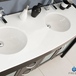 """Infinito 71 Modern Double Sink Bathroom Vanity With Mirror - This double sink vanity is ideal for any larger setting or master bathroom.  Very simply designed, details such as an espresso finish, ceramic undermount sinks and glass/stone countertop really make this ensemble ideal for anyone whose updating their space for something with understated grace and flare.  Many faucet styles to choose from.  Optional side cabinets are available.Dimensions of Vanity:  70.88""""W x 21.5""""D x 33.88""""H. Dimensions of Mirror:  28""""W x 34.38""""H x 4.75""""D. Materials:  Solid Wood, Ceramic Undermount Sinks with Overflow, Glass Stone Countertop. Single Hole Faucet Mounts (Faucets Shown In Picture May No Longer Be Available So Please Check Compatible Faucet List). 4 Soft Closing Doors. 3 Soft Closing Drawers. P-traps, Faucets, Pop-Up Drains and Installation Hardware Included"""