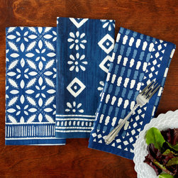 "Two's Company - Batik Print Luncheon Napkin Set of 4 - The Batik luncheon napkins enliven the dining table with personality. Contemporary and graphic, the blue and white linens delight with a variety of playful geometric patterns. 20""W x 20""H; 100% cotton; Set of four; Select pattern"
