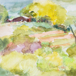 """""""Red Barn & Field"""" (Original) By Joan Franklin - """"Red Barn & Field"""" Was Painted On Valley View Road In Ashland, Or. What Interested Me Was The Color & Shape Of The Barn Juxtaposed Against The Shapes Of The Landscape Elements."""