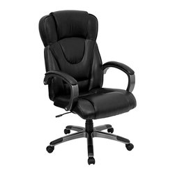 Flash Furniture - Contemporary High Back Office Arm Chair w Lea - A stylish contoured back sets this chair apart from classic styles. The contemporary design is highlighted by distinctive stitching that defines ergonomic shaping and plush seating. Curved arms offer complementing padding with matching accents on the brushed metal caster base. Executive leather office chair. High back. Thickly padded seat and back. Contoured, ergonomic design. Black leather upholstery. Heavy duty nylon loop style arms with titanium finish. Leather padded arm rests. Pneumatic seat height adjustment. Tilt lock mechanism. Heavy duty nylon base with titanium finish and Black end caps. Dual wheel casters. Meets or exceeds ANSI/BIFMA standards. Some assembly required. Seat: 22 in. W x 19 1/4 in. D. Back: 22 in. W x 28 in. H. Seat Height: 19 1/2 in. - 23 1/4 in. H. Arm Height: 9 1/4 in. H (from seat). Overall: 25 1/2 in. W x 25 1/4 in. D x 45 1/2 in. - 49 1/4 in. H