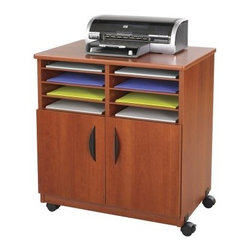 Safco Mobile Machine Stand with Sorter - Cherry - Got clutter? Let the Safco Mobile Machine Stand with Sorter - Cherry take a load off your office mess with its clean organization and storage. Crafted of furniture-grade wood with a laminate finish, this mobile machine stand is stain- and scratch-resistant. The rich cherry finish mingles well with most modern office spaces. Six sorter shelves give you eight letter-sized compartments for storing paper and labels. And, since today's office is always on-the-go, we've made sure the four casters (two locking) are smooth and easy-to-maneuver so you can say ciao to all that overwhelming office clutter. Assembly required.About Safco ProductsSafco products were specifically developed to meet the changing needs of the business world, offering real design without great expense. Each product is designed to fit the needs of individuals and the way they work, by enhancing comfort and meeting the modern needs of organization in the workplace. These products encourage work-area efficiency and ultimately, work-life efficiency: from schools and universities, to hospitals and clinics, from small offices and businesses to corporations and large institutions, airports, restaurants, and malls. Safco continues to offer new colors, new styles, and new solutions according to market trends and the ever-changing needs of business life.