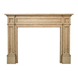 "Pearl Mantels - The Classique 56"" Fireplace Mantel Tuscany Finish - Pearl Mantels features fine furniture quality, stunning details and classic designs that will enhance any decor.The Classique mantel is truly a classic in all ways.This impressive piece has beautiful moldings and dimension that will frame your fireplace with grace and beauty for years to come.Hand crafted from Asian hardwoods and handsomely completed with our warm Tuscany distressed finish that will enhance any decor. Mantel ships in 3 pieces; 2 legs and 1 header.The legs attach easily to the header with nuts and bolts.Mitered hanger board assembly included for easy installation as well as a 3 piece mitered scribe molding set to hide any gaps after installation.This mantel has a 1 1/2"".  projection off of the wall leaving a nice pocket behind the mantel to accommodate your tile, stone, marble etc.Look for the pearl inlay that graces the right hand side of the shelf as proof that you have received an authentic Pearl Mantel.Your inlay is masked so that you may easily paint or stain around it.Simply remove the mask when done.Light sanding and filling is recommended before paint or stain is applied.Use Pearl item# 604 plinth base pair to raise the interior height by 9 3/4"". .Available unfinished only, paint and stain grade wood.Dimensions:Projection: 1 1/2"". Interior Width: 56"". Interior Height: 42"". Width Outside Leg to Outside Leg at Base: 77 1/4"". Shelf Length: 79 1/2"". Shelf Depth: 8"". Overall Height: 56""."