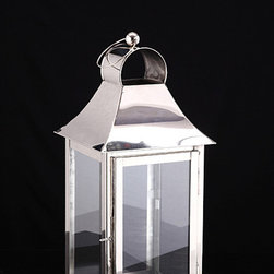 None - Small Square Candle Lantern Lamp - Add a contemporary touch to any space with this square candle lantern. A nickel plated finish complete this indoor lamp.