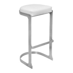 "Lumisource - Demi Barstool, Stainless/White - 16.5"" L x 15"" W x 31.5"" H           Seat height: 31.50"""