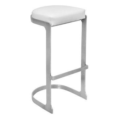"""Lumisource - Demi Barstool, Stainless/White - 16.5"""" L x 15"""" W x 31.5"""" H           Seat height: 31.50"""""""