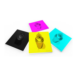 """Custom Photo Factory - Maxwell Dickson """"CMYK"""" Crystal Clear Glass Coaster Sets - Made in the USA. Materials: Smooth tempered glass. Set includes: Four (4) or Six (6) drink coasters. Dimensions: 3.94"""" x 3.94"""" x 3/16"""".  Image imprinted on the backside so the item on top of the coaster is never interacting with the print surface. The crystal clarity of our glass coasters delivers reliably uniform color reproductions. Crafters, artists and interior designers will find countless ways to use the features of these glass coasters. This will be the highest quality coasters you've even seen."""