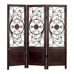 Benzara - Elegant and Beautiful Metal Wood Divider Privacy Screen Brown Home Decor - Elegant and beautiful inspired metal wood divider privacy screen brown accent living and family room home accent decor