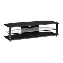 Plateau CRX-2V 64 Inch TV Stand in Black - The Plateau CRX-2V 64-Inch TV Stand in Black has an ultra modern appeal and plenty of storage room for your entertainment system. This 3-shelf TV stand features an upper and lower shelf of black oak and a middle shelf of safety glass with polished edges. The shelves sit upon on a welded frame of heavy gauge steel tube finished in a virtually indestructible black baked powder-coat finish. This TV Stand holds a 57-inch and up flat panel TV and has lots of room left over for all your audio equipment.About Plateau CorporationPlateau Corporation utilizes the finest materials to provide you with state of the art audio and video home theater furniture systems. Entertainment centers created by Plateau Corporation are a fusion of innovative engineering and contemporary design. Their product list includes entertainment centers, media storage, TV armoires, and TV stands that are all are easy to assemble, incredibly durable, and specially made to highlight your audio/video system. Their unique entertainment centers can grow as your system grows.