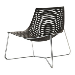 ModLoft - York Lounge Chair - York lounge chair features carbon steel frame with laser cut natural leather seat. Optional ottoman and chaise available.