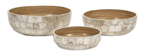 iMax - Milbourne Shell Bowls, Set of 3 - This set of three shallow bowls encased in delicate capiz shells makes a beautiful centerpiece or table accent whether alone or with decorative filler or fruit.