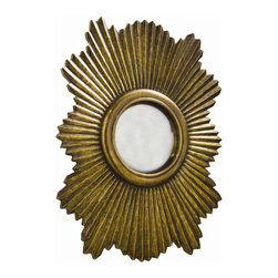 Arteriors - Greer Small Mirror, Antique Brass - This scalloped then fluted wood mirror frame has been clad in metal sheet finished in antique silver. The convex mirror in the center is antiqued. Features saw tooth hangers for vertical or horizontal hanging.
