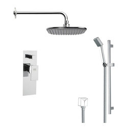 Remer - Modern Square Chrome Rain Shower Faucet Set - Single function shower faucet.