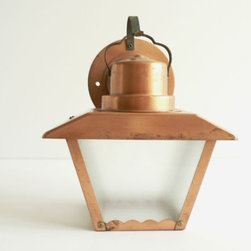 Copper Metal Outdoor Light - I'd love to use this vintage light in so many different spaces — patios, front porches, all-season rooms. It even has sweet, subtle details like the scalloped frame bottom and textured glass.