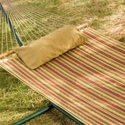 Twin Oaks Alfresco Quilted Sunbrella Fabric Hammock - Relax in a hammock before or after eating.