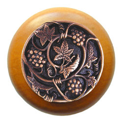 Wine Enthusiasts - Grapevines Maple Wood Knob in Antique Copper