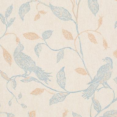Romosa Wallcoverings - Beige / Blue Nature Floral Humming Bird Wallpaper - - Color: Beige / Blue