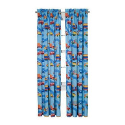 Room Magic - Room Magic Boys Like Trucks Window Panels Curtain Set - RM16-BT - Shop for Window Treatments from Hayneedle.com! The Room Magic Boys Like Trucks Window Panels Curtain Set coordinates with the series' bedding set knobs and accessories for a complete matching look. This adorable designer fabric has trucks of every kind driving along a windy road. At 84 inches long and 59 inches wide the two panels perfectly cover even large windows.About Room MagicRoom Magic doesn't just make children's furniture; they design furniture specifically for children using the magic of childhood imagination and creativity as a guiding principle. Beginning in 1999 with graphic designer Karen Andrea's attempt to create a truly lively and unique room for her five-year-old daughter Sarah the company has maintained a focus on using bright colors and unique themes that steer clear of cliched motifs. Bright and bold playful cut outs decorate the quality hardwood pieces finished with beautiful stains. With collections that are geared both to boys and to girls Room Magic provides the furniture accessories and bedding you need to bring the magical fun of childhood to your kids' rooms.
