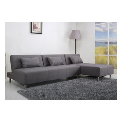 None - Atlanta Light Grey Convertible Sectional Sofa Bed - This multi-functional sectional sofa bed offers a modern design that adds comfort and style to your home. Upholstered in durable premium fabric for minimum maintenance,the European styling and sleek design will inspire a fresh look for your living space.