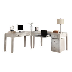 Parker House - Parker House Boca Modular L-Shaped Desk with Rolling File in Cottage White - Parker House Furniture is based in California and has been serving the fine furniture industry since 1946. The company's time-proven quality is an industry standard. Parker House continues its legacy with its newest line of expanding television consoles and entertainment wall systems, plasma TV stands, and accessories. All solid wood is hand sorted for the project, verifying colour, grain and structure. Specialty veneering is done in house. They have a large inventory of domestic and exotic veneers. Parker House takes pride in the quality of its furniture and is committed to making customer satisfaction its number one priority.