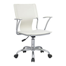 Chintaly Imports - Chrome/White OfficeSwivel Arm Chair with Pneumatic Gas Lift - Modern pneumatic gas lift adjustable swivel computer chair. 5 Star chrome base/footrest. Chrome arms. Available in Black or White PVC
