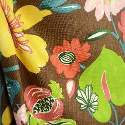 Chestnut Brown Pink Blue Green Large Modern Floral Drapery Fabric By The Yard - Gorgeous Chestnut is a woven fabric that has been printed with a large contemporary floral in brown, blue, pink and green.  Uses for this fabric include pillows, bedding, lightweight upholstery and window treatments.