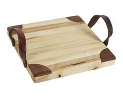 "Europe2You - Heritage Wooden Square Cutting Board - Entertain in chic style using our convenient yet attractive square cutting board! Carved entirely by hand from 19th century reclaimed wood, this cutting and serving board is treated with mineral mineral oil for a natural finish. It's the perfect complement to a rustic spread of cheeses, breads, and crackers. * Dimensions: D: 13"" H: 1.5"" * Complete with decorative leather handles * Can be used as a cutting, serving and cheese board"