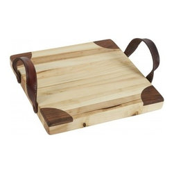 """Europe2You - Heritage Wooden Square Cutting Board - Entertain in chic style using our convenient yet attractive square cutting board! Carved entirely by hand from 19th century reclaimed wood, this cutting and serving board is treated with mineral mineral oil for a natural finish. It's the perfect complement to a rustic spread of cheeses, breads, and crackers.   * Dimensions: D: 13"""" H: 1.5""""  * Complete with decorative leather handles  * Can be used as a cutting, serving and cheese board"""