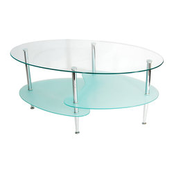 Walker Edison - Glass Oval Coffee Table - This stylish coffee table offers multiple levels to showcase your magazines and books and provides a durable foundation for your morning coffee. Its distinctive, metal curved legs supports the tempered safety glass shelves. Features two frosted lower shelves, each have beveled edges for a soft, smooth edge.