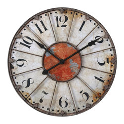 """Uttermost - Uttermost Ellsworth 29"""" Wall Clock 06664 - Crackled ivory face with rust red accent and rustic bronze metal details. Quartz movement."""