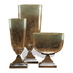 Kathy Kuo Home - DuPage Hollywood Regency Style Trophy Mercury Glass Vases - Rustic nostalgia need never be boring, and this trio of mercury glass vases are perfect proof.  The beautiful imperfection of mercury glass creates a ebullient effect sitting atop classic polished nickel bases.  Whether placed in an industrial loft or restored brownstone, these three speak to a golden age and bring it beautifully into the present.