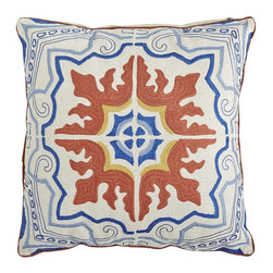 Embroidered Mediterranean Tile Pillow - This has a jazzy motif. I love the colors and the shadow play as well.