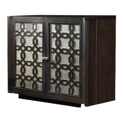 Hooker Furniture - The Works Eglomise Utility Cabinet - White glove, in-home delivery included!  The elegant Eglomise collection is crafted with poplar and hardwood solids with maple veneers with glass and silver leaf.  Two hinged doors that have two storage areas with two removable dividers.  Two angled storage sections that are felt-lined and two storage sections.  Four adjustable shelves, one pullout drawer, one pullout tray, one FC737 power bar with two electrical outlets and one USB port, one locking file drawer with pendaflex letter/legal filing system.