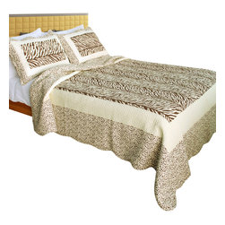 Blancho Bedding - Dances With Wolves 100% Cotton 3PC Patchwork Quilt Set  Full/Queen Size - The [Dances With Wolves] Quilt Set (Full/Queen Size) includes a quilt and two quilted shams. Shell and fill are 100% cotton. For convenience, all bedding components are machine washable on cold in the gentle cycle and can be dried on low heat and will last you years. Intricate vermicelli quilting provides a rich surface texture. This vermicelli-quilted quilt set will refresh your bedroom decor instantly, create a cozy and inviting atmosphere and is sure to transform the look of your bedroom or guest room. Dimensions: Full/Queen quilt: 90 inches x 98 inches; Standard sham: 20 inches x 26 inches.