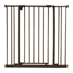 "North States - Extra Tall Easy Close Baby/Pet Pressure Gate - The North States Extra Tall Easy Close safety gate fits openings from 28"" to 38.5"" and is an extra-tall 36"". It includes two extensions if needed. Pressure mounted with tension knobs, it is easy to intall and remove. Perfect for securing doorways, corridors and room openings. Self closing with hold-open feature. Gate swings both ways. Childproof latch with double locking mechanism. Comes in a Bronze finish."