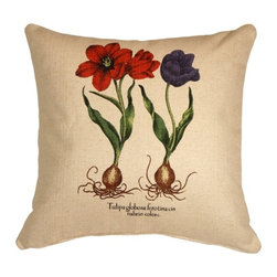 Pillow Decor - Tulips Decorative Throw Pillow - For a springtime feeling any time, plant this pillow in your decor. Brilliant tulips printed on a comfy, clean-feeling cotton-linen blend bring a refreshing vibe to your favorite setting.