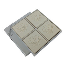 Frontgate - Triple Milled 4-Bar Soap Set with Scallop Shell - 100% vegetable based. Each bar of soap is 4 oz.. Soft, antique white color. Water-based fragrance is safe for sensitive skin and noses. Arrives in an elegant, white box made of 100% recycled chipboard materials with velvet-like interior. Replenish, enliven, and indulge with the very finest soap from the Eco-Luxury Collection. Triple-milled for long lasting lather, the 4-bar Square Soap Set comes in a pleasant yet invigorating water-based aqua mineral scent.  .  .  .  .  . Soap and box are handmade in the USA .
