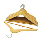 Florida Brands - Natural-Finish Wood Suit Hangers, Set of 16 - Suit Hangers: