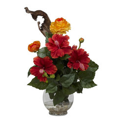 Nearly Natural - Hibiscus & Ranunculus with Fluted Bowl Silk Flower Arrangement - Put this in a window and watch the birds and bees gather! That's how lifelike and lush this beauty looks. By combining the Hibiscus with the Ranunculs, we've created the perfect mix of color and texture that literally explodes with delight! You got your greens, your yellows, your reds, all coming together in a classy fluted bowl w/ faux water. Perfect for anywhere in your home or office, and also makes a great gift.