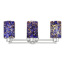 Design Classics Lighting - Modern Bathroom Light with Blue Glass in Chrome Finish - 703-26 GL1009C - Contemporary / modern chrome 3-light bathroom light. A socket ring may be required if installed facing down. Takes (3) 100-watt incandescent A19 bulb(s). Bulb(s) sold separately. UL listed. Damp location rated.