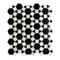 Victoria Hexagon Pearl Nero Marquina Marble and Pearl Shell Glass Tile - Victoria Hexagon Pearl Nero Marquina Marble and Pearl Glass Tile    Each piece of this stone and pearl tile fits into the next like a perfect puzzle. Its stunning design and unique pattern of honeycomb will bring warmth and a natural ambience to your home. The mesh backing not only simplifies installation, it also allows the tiles to be separated which adds to their design flexibility. Natural stones are products of nature therefore variations in color, pattern, texture and veining will occur.     It is not recommended to be installed in a pool or anywhere the tile will be submerged in water.