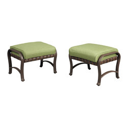 """Pembrey Patio Ottoman with Moss Cushion (2-Pack) - Mix and match cushions with """"Bare"""" version at homedepot.com"""