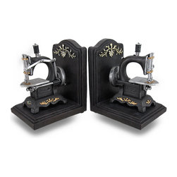 Zeckos - Vintage Style Sewing Machine Cast Resin Bookend Set of 2 - This unique set of vintage style sewing machine bookends would look right at home displayed in your sewing room, studio, home or office. Made of cold cast resin, each bookend measures 6 1/2 inches high, 5 1/4 inches long and 4 1/2 inches wide. The sewing machines are highly detailed and are hand-painted. They have padded foam feet on the bottoms to keep your furniture scratch free This set of 2 bookends makes the perfect gift for sewing enthusiasts.