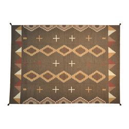 Navajo Design Hand Woven Flat Weave 10'x14' 100% Wool Area Rug SH16645 - Soumaks & Kilims are prominent Flat Woven Rugs.  Flat Woven Rugs are made by weaving wool onto a foundation of cotton warps on the loom.  The unique trait about these thin rugs is that they're reversible.  Pillows and Blankets can be made from Soumas & Kilims.