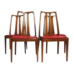 Pre-owned Nathan Mid-Century Modern Teak Chairs - A set of 4 Mid-Century Modern chairs in teak by Nathan. Danish styling with upholstered red seats. A knockout set for any Scandinavian design enthusiast's home!